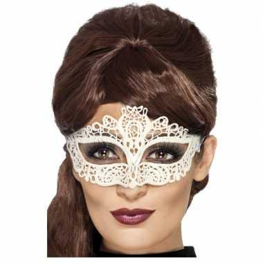 Wit kanten oogmasker dames carnavalskleding roosendaal