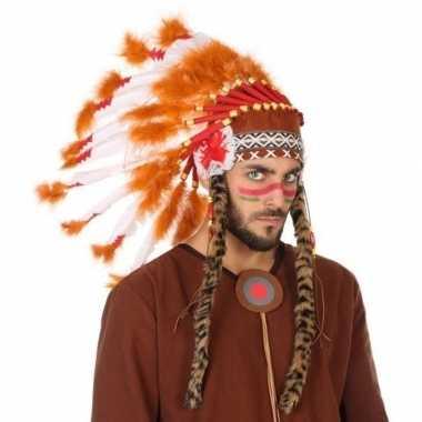 Wit/oranje luxe indianen tooi heren carnavalskleding roosendaal