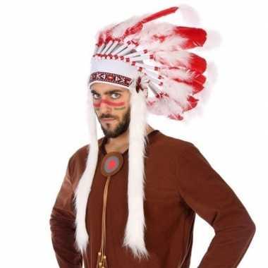 Wit/rode luxe indianen tooi heren carnavalskleding roosendaal