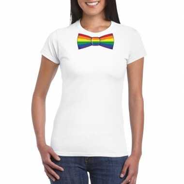 Wit t shirt regenboog vlag strikje dames carnavalskleding roosendaal