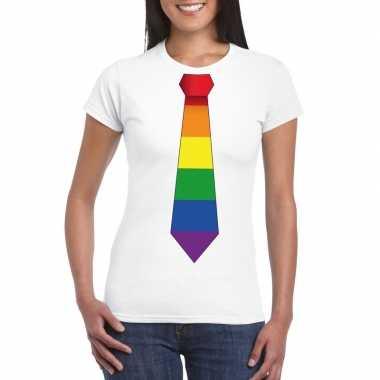 Wit t shirt regenboog vlag stropdas dames carnavalskleding roosendaal