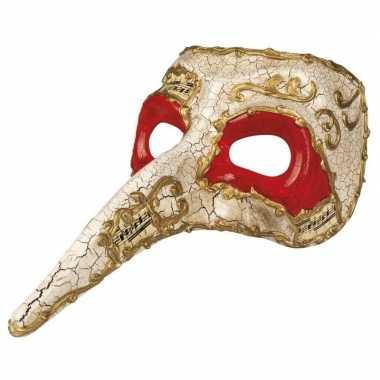 Wit venetiaans snavel masker heren carnavalskleding roosendaal