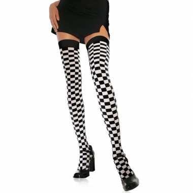 Wit zwarte geblokte kniekousen dames carnavalskleding roosendaal