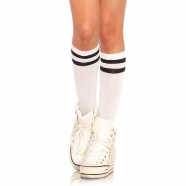 Witte hoge damessokken zwarte streep carnavalskleding roosendaal