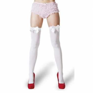 Witte kousen witte strikjes dames carnavalskleding roosendaal