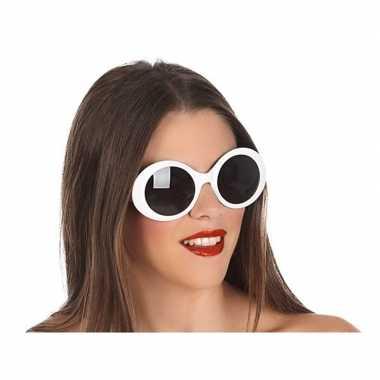 Witte ronde verkleed zonnebril carnavalskleding roosendaal