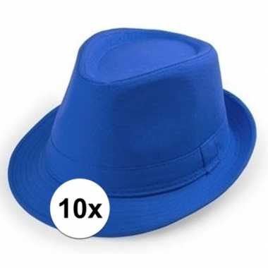 X blauw trilby verkleed hoedjes volwassenen carnavalskleding roosenda
