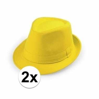 X geel trilby verkleed hoedjes volwassenen carnavalskleding roosendaa