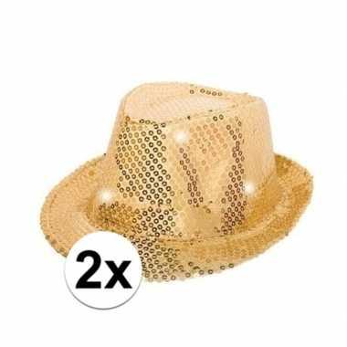 X gouden pailletten hoedjes led licht carnavalskleding roosendaal