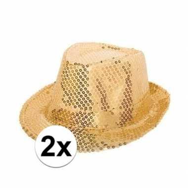 Carnavalskleding x gouden trilby glitter party hoedjes pailletten roosendaal
