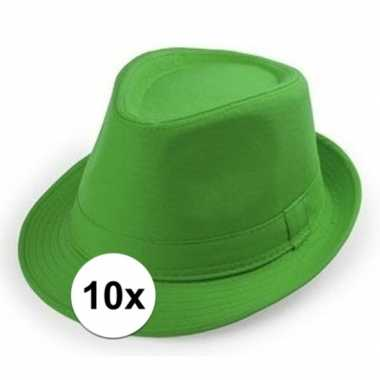 X groen trilby verkleed hoedjes volwassenen carnavalskleding roosenda