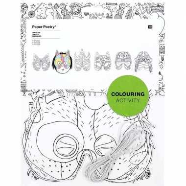 X knutsel papieren maskers om te kleuren kinderen carnavalskleding ro