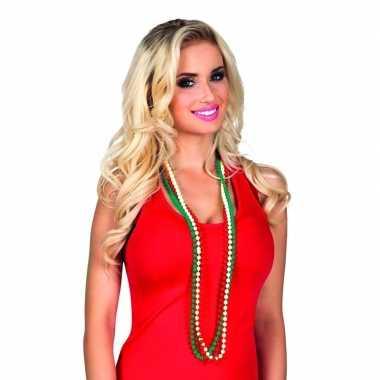 X kralenketting rood/wit/groen volwassenen carnavalskleding roosendaa