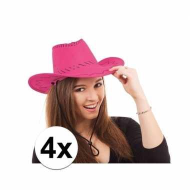 X roze toppers cowboy hoeden stiksels carnavalskleding roosendaal