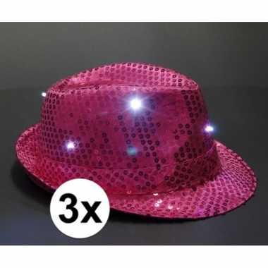X roze toppers pailletten hoedje led licht carnavalskleding roosendaa