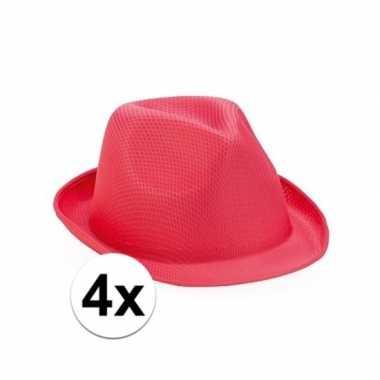 X roze toppers trilby hoedjes volwassenen carnavalskleding roosendaal