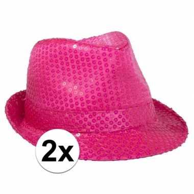 X toppers neon roze trilby hoed pailletten carnavalskleding roosendaa