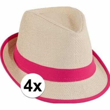 X toppers trilby stro hoedje roze carnavalskleding roosendaal