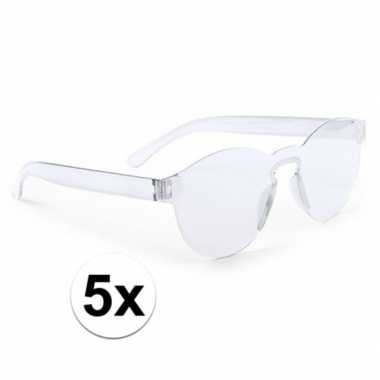X transparante verkleed zonnebrillen volwassenen carnavalskleding roo