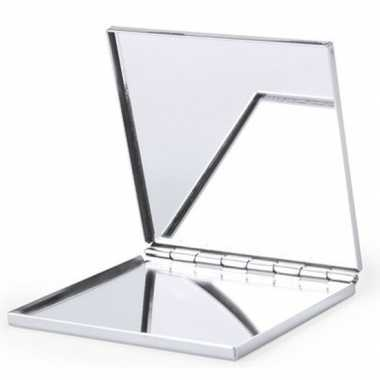 Zakspiegel/make up spiegel zilver vierkant carnavalskleding roosendaa