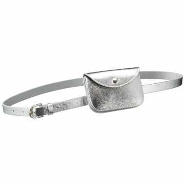 Zilver mini heuptasje/buideltasje aan riem dames carnavalskleding roo