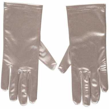 Zilveren gala handschoenen kort satijn carnavalskleding roosendaal