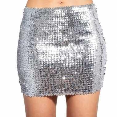 Zilveren glitter pailletten disco rokje dames carnavalskleding roosen
