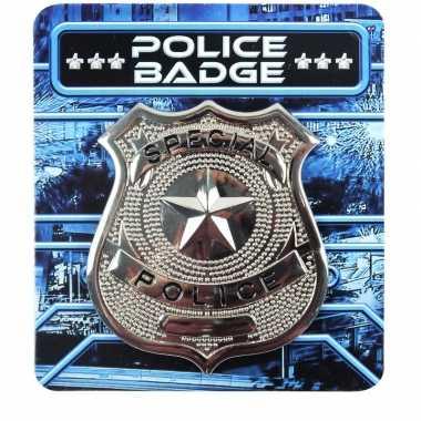 Zilveren politie badge verkleed accessoire carnavalskleding roosendaa
