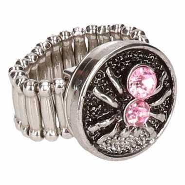 Zilveren ring roze spin chunk carnavalskleding roosendaal