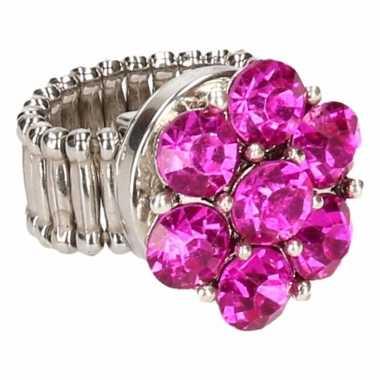 Zilveren ring roze steentjes chunk carnavalskleding roosendaal