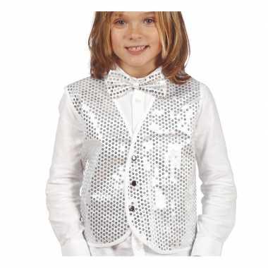 Zilveren verkleed gilet pailletten kinderen carnavalskleding roosenda