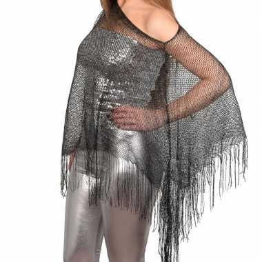 Zilveren visnet poncho/ omslagdoek/ stola dames carnavalskleding roos