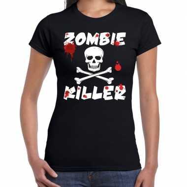 Carnavalskleding zombie killer halloween t-shirt zwart dames roosendaal