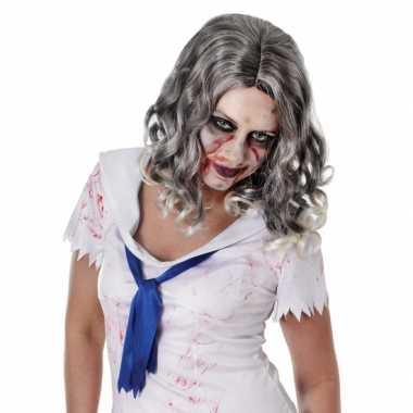 Carnavalskleding zombie pruik krullend grijs haar roosendaal