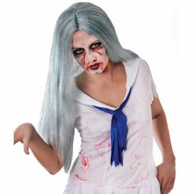Carnavalskleding zombie pruik lang grijs haar roosendaal