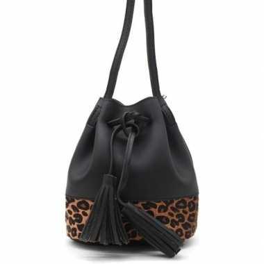 Zwart/bruin luipaardprint schoudertasje/bucket bag carnavalskleding r