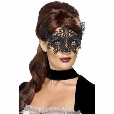 Zwart geborduurd kanten oogmasker dames carnavalskleding roosendaal