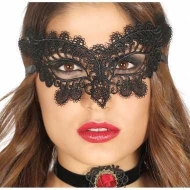 Zwart kanten oogmasker dames carnavalskleding roosendaal