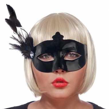 Zwart oogmasker veren dames carnavalskleding roosendaal