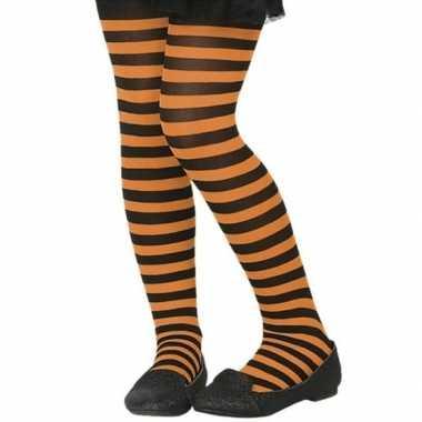 Zwart/oranje verkleed panty kinderen carnavalskleding roosendaal