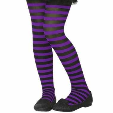 Zwart/paarse verkleed panty kinderen carnavalskleding roosendaal