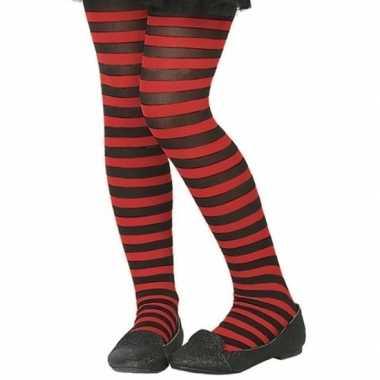 Zwart/rode verkleed panty kinderen carnavalskleding roosendaal
