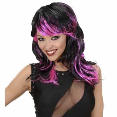 Carnavalskleding zwart roze damespruik roosendaal