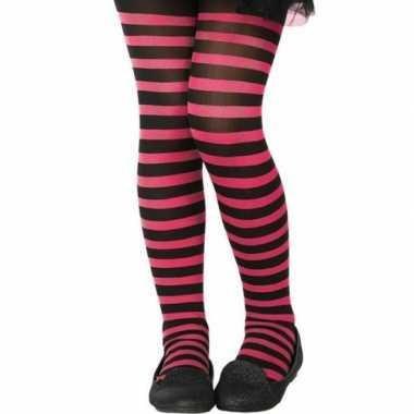 Zwart/roze verkleed panty kinderen carnavalskleding roosendaal