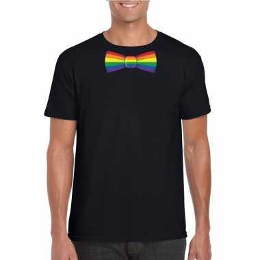 Zwart t shirt regenboog vlag strikje heren carnavalskleding roosendaa