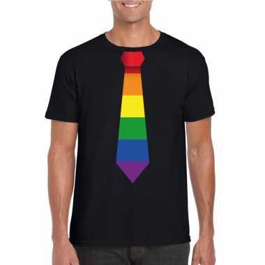 Zwart t shirt regenboog vlag stropdas heren carnavalskleding roosenda
