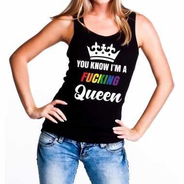 Zwart you know i am a fucking queen tanktop dames carnavalskleding ro