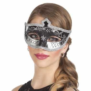 Zwart/zilver oogmasker glitters dames carnavalskleding roosendaal