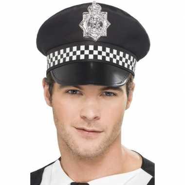 Zwarte britse politiepet heren carnavalskleding roosendaal