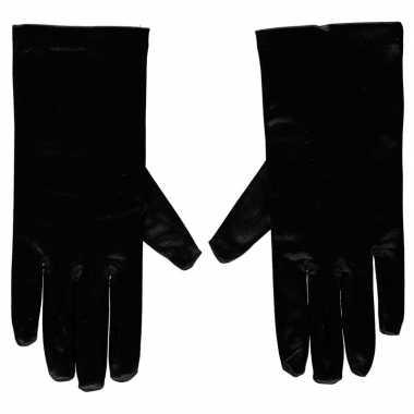 Zwarte gala handschoenen kort satijn carnavalskleding roosendaal